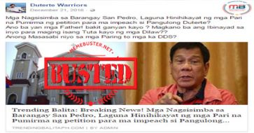 Busted: Tip about church asking churchgoers to sign petition for Duterte's impeachment was  made up