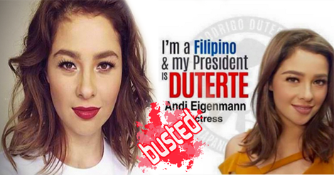 Did Andi Eigenmann Endorsed Duterte?