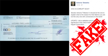 Busted: Trillanes' Controversial 'P500M' Check Is Fake!
