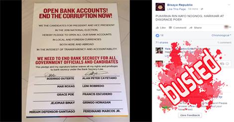 Duterte Cayetano Bank Secrecy Waiver