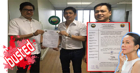 Busted: Grace Poe's Husband Did Not Renounce US Citizenship A Month Ago