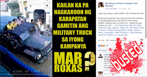 Mar Roxas Using Military Truck