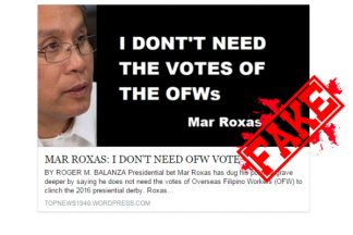 Busted: I Dont Need the Votes of the OFWs – True Statement of Mar Roxas