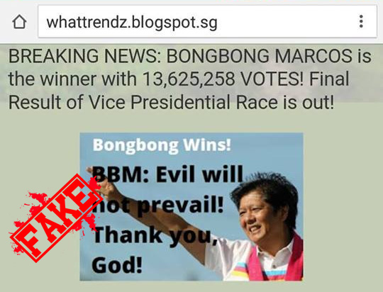 Bongbong Marcos HAS NOT Won
