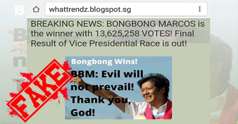 Fake Bongbong Marcos HAS NOT Won