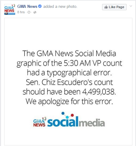 GMA Statement - VP Partial Unofficial Tally
