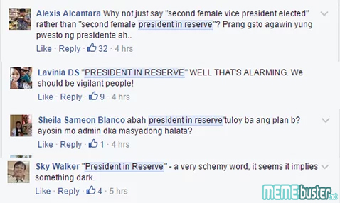 Comments on VP Leni as President in reserve