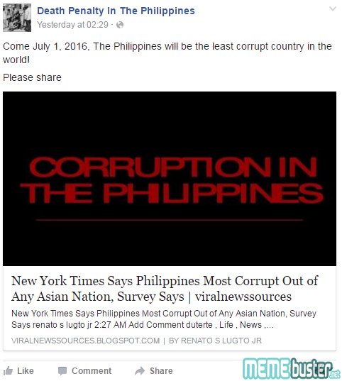Most Corrupt Asian Nation