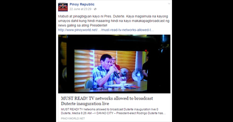 TV Networks Given Access Duterte