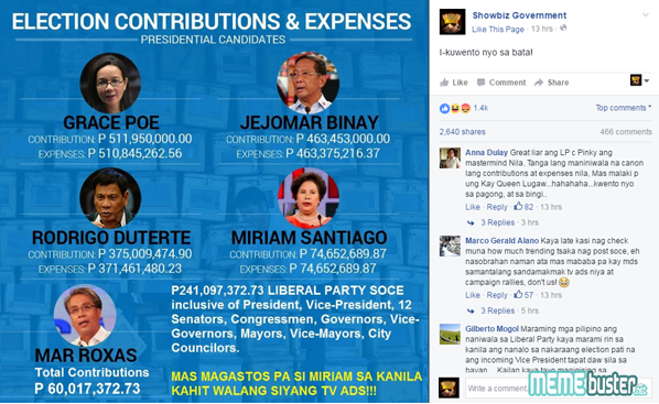 LP Roxas Election Contribution