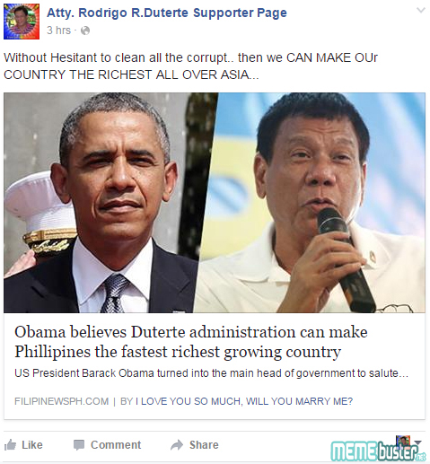 Obama believes Duterte Admin Fastet Richest Growing Country