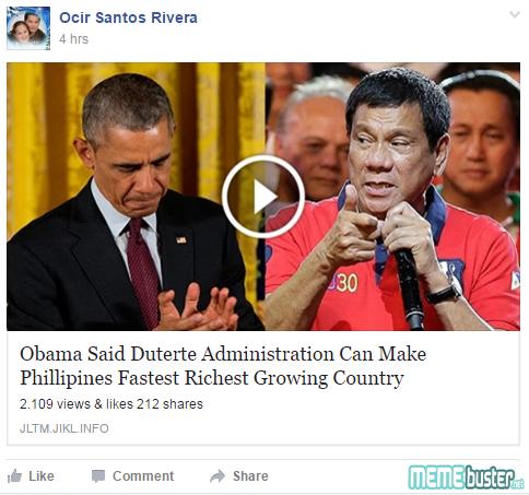 Obama to Duterte Admin
