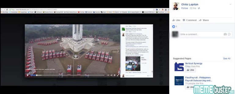 Citizens Posts on 911 Philippines Fire Truck Turnover