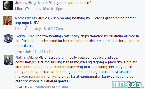 Comments on Transports Ships Donated by Australia