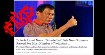 Busted: Article claiming drug-related surrenders under Duterte is setting Guinness record is misleading!