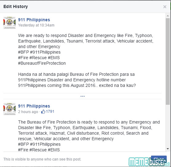 Edit history of post on 911 Philippines Fire Truck Turnover