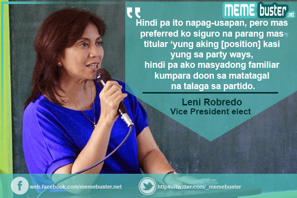 Leni Robredo on LP Chairman
