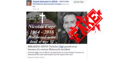 Busted: Nicolas Cage falls victim to a death hoax