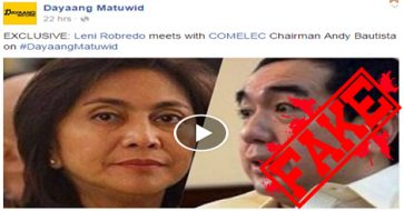 Busted: Robredo met Bautista in secret? Nope, it was a dinner party with at least 30 guests