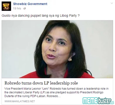 Robredo Still Hesitant LP Leadership