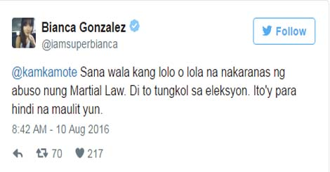 Bianca Gonzales Tweets Martial Law