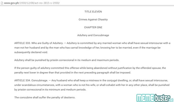 Duterte Between Adultery and Concubinage