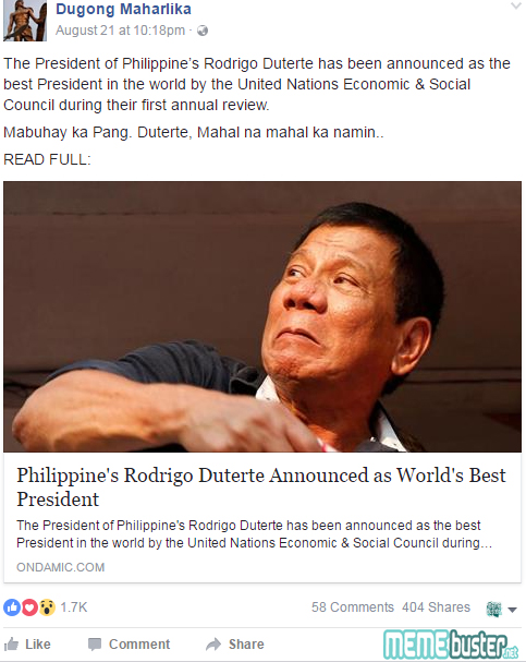 Duterte Worlds Best President