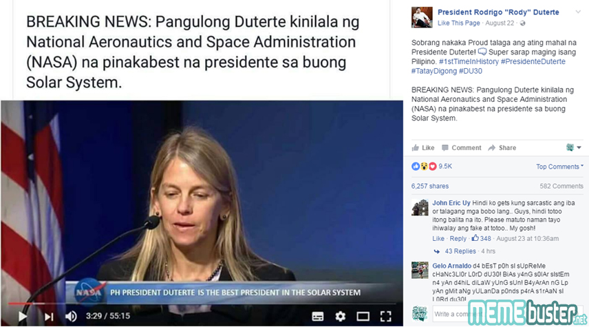 NASA Hailed Duterte Best President