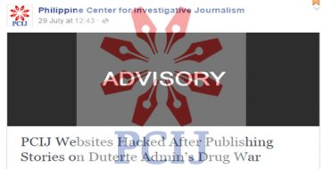 PCIJ sites hacked after running updates on Duterte war on drugs