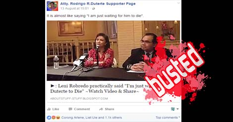 Robredo Waiting Duterte to Die