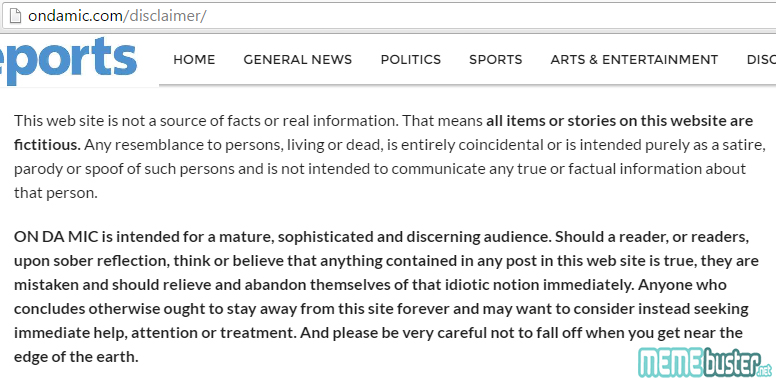 Site Disclaimer on Duterte Worlds Best President