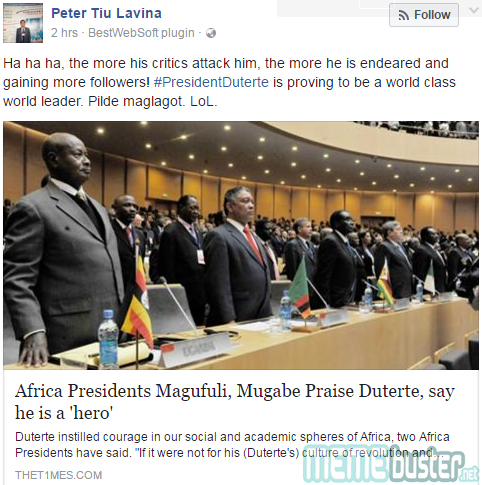 African presidents calling Duterte style=