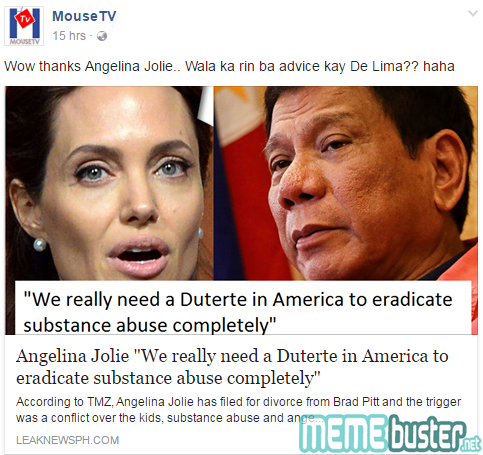 Angelina Jolie to Duterte