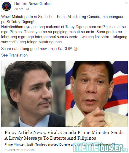 Canadian PM Trudeau to Duterte