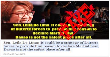 Busted: De Lima denies saying Davao bombing was Duterte's strategy to declare martial law