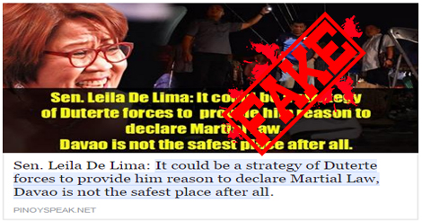 De Lima Denies Davao Bombing