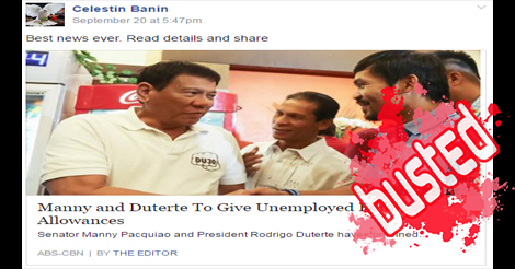 Duterte Pacquiao give pinoy allowances