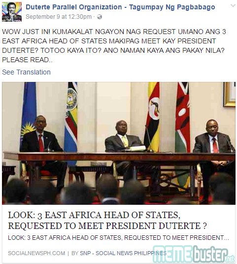 East African presidents meet Duterte