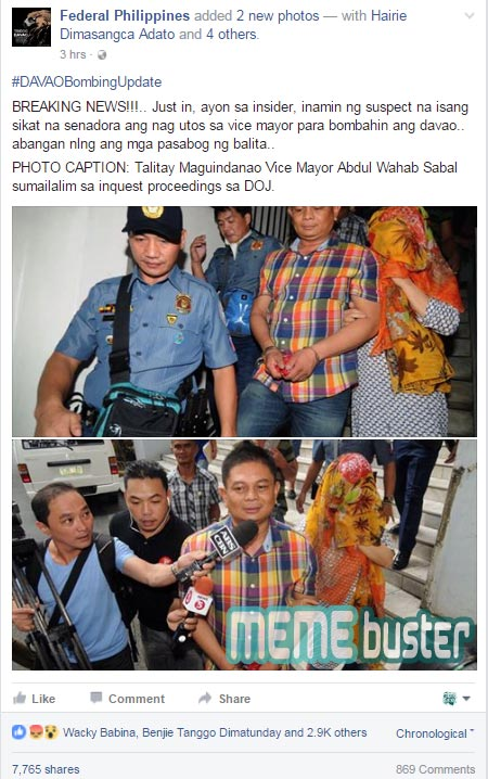 Hoax alert: Duterte FB pages claim 'famous' female senator mastermind in Davao blast? It's unverified news!