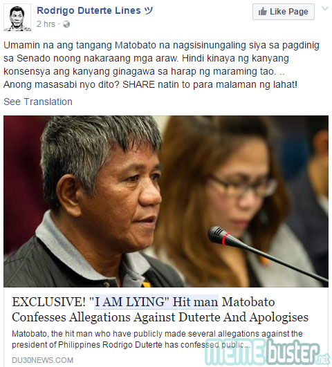 Matobato Apologized to Duterte