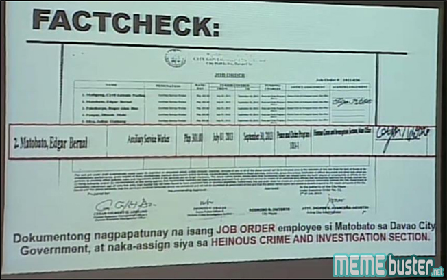 Trillanes Fact Checked Matobatos Testimonies