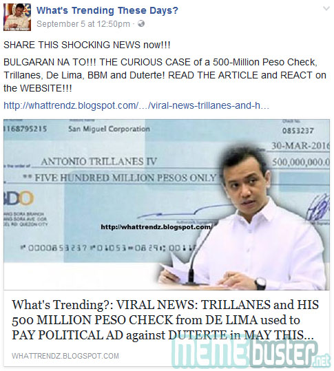 Trillanes accepted P500M de Lima