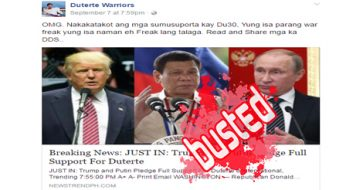 Busted: Trump, Putin pledged full support for Duterte? No, it's another SATIRICAL article!