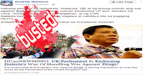 UK Parliament Endorse Duterte