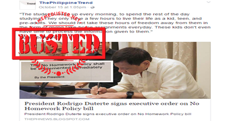 malacañang signed the law no homework during weekends