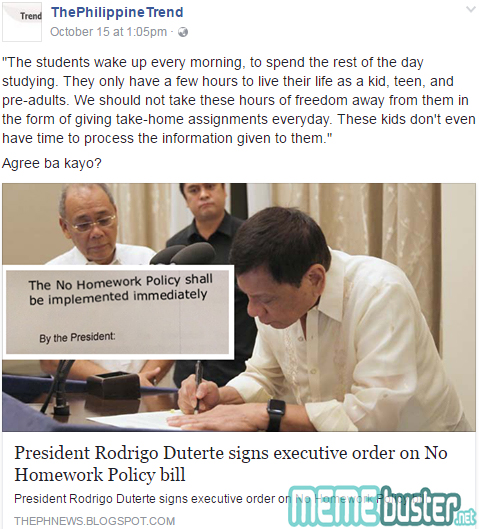 Duterte Signed No Homework Policy