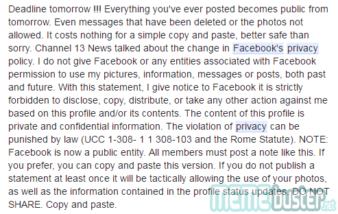 Facebooks Privacy Notice Hoax