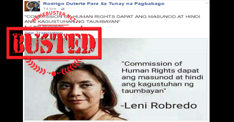 Robredo Did Not Say This