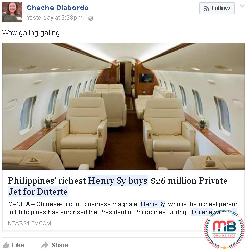 Henry Sy Private Jet Duterte