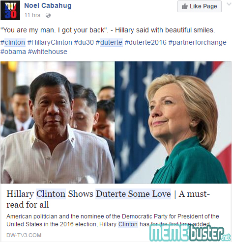 Hillary Clinton Show Duterte Love